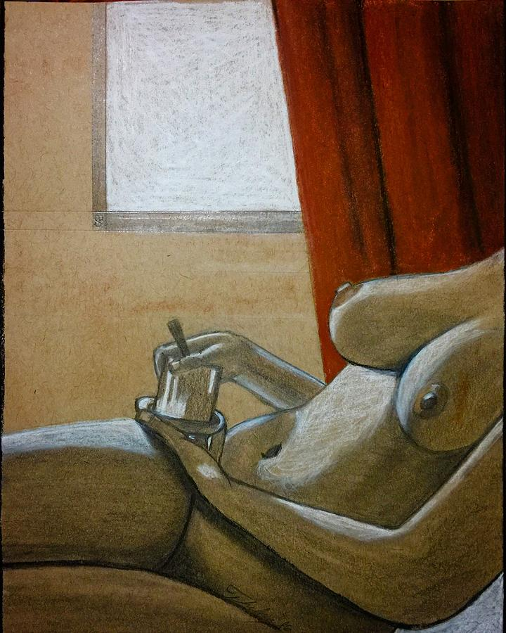 Woman with coffee by Thelma Delgado