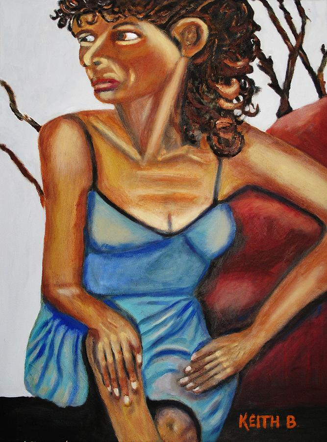 Woman Painting - Woman With Curly Hair by Keith Bagg