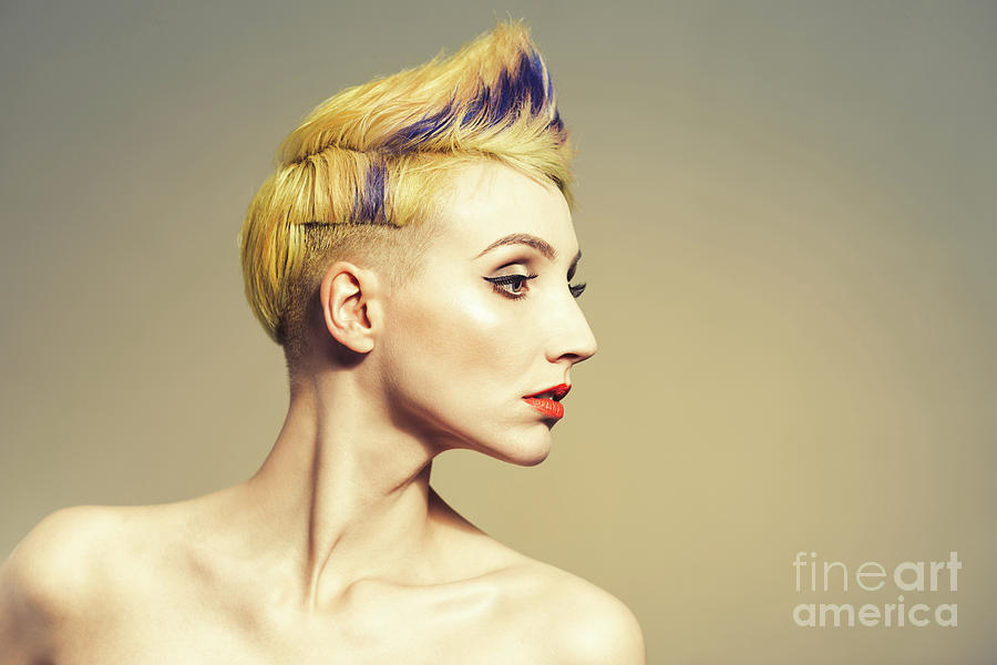 Make Up Photograph - Woman With Funky Hairstyle by Amanda Elwell