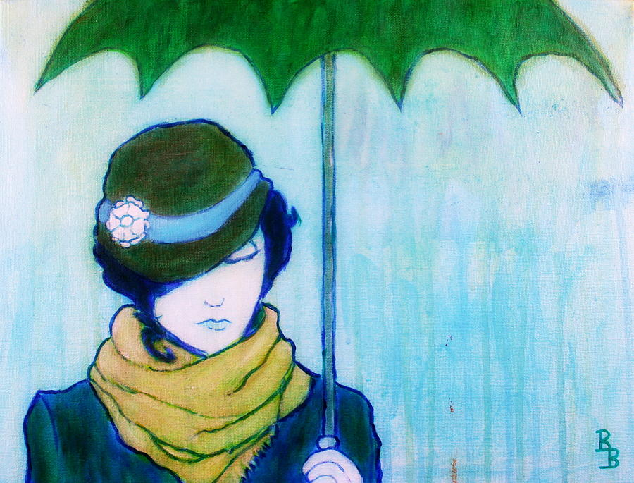 Green Umbrella Painting - Woman With Green Umbrella by Bob Baker