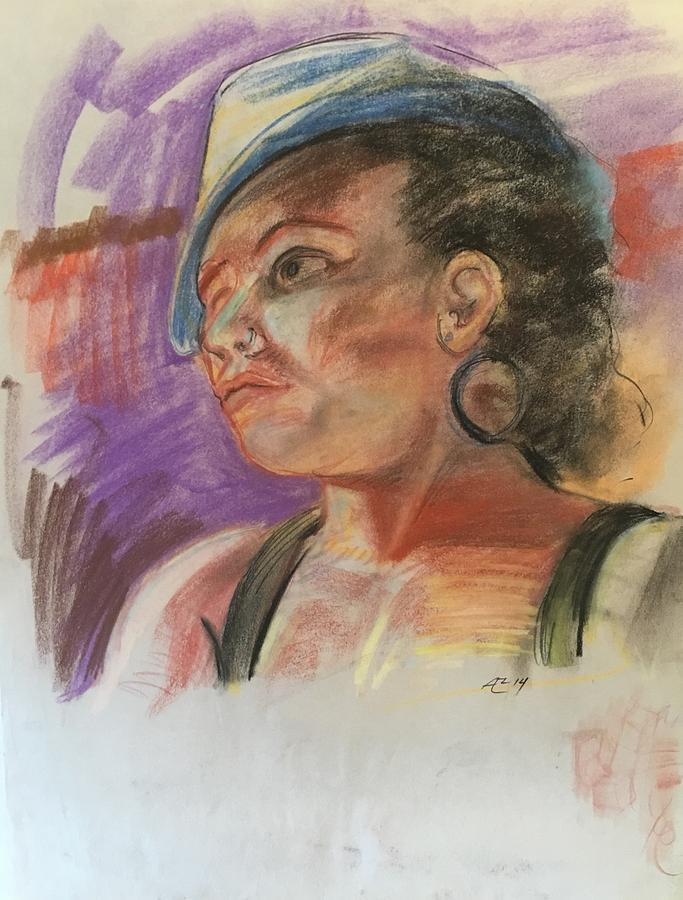 Woman With Hat Pastel by Alejandro Lopez-Tasso