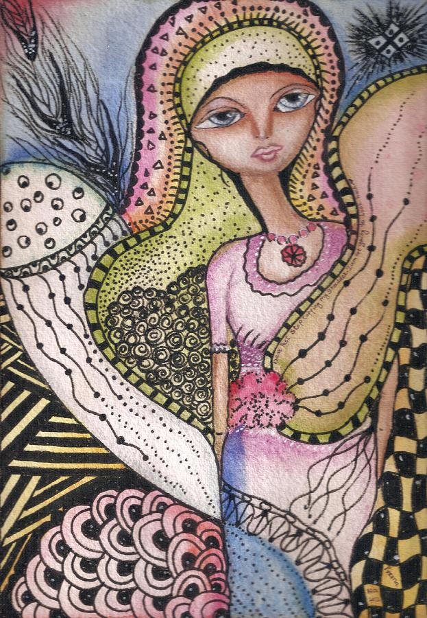 Woman Mixed Media - Woman with large eyes by Prerna Poojara