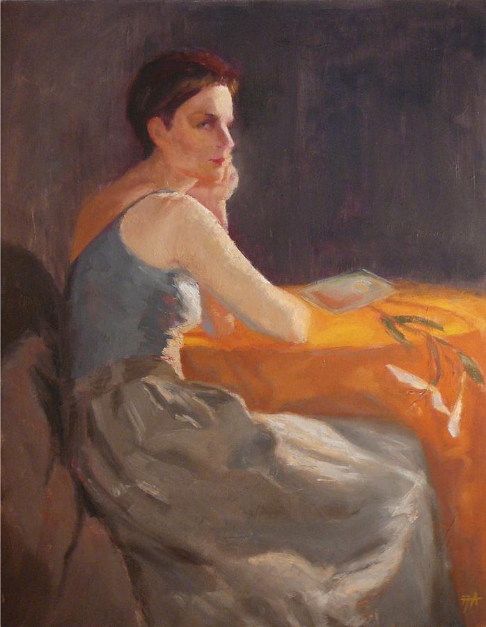 Sold Woman With Lily Painting by Irena  Jablonski