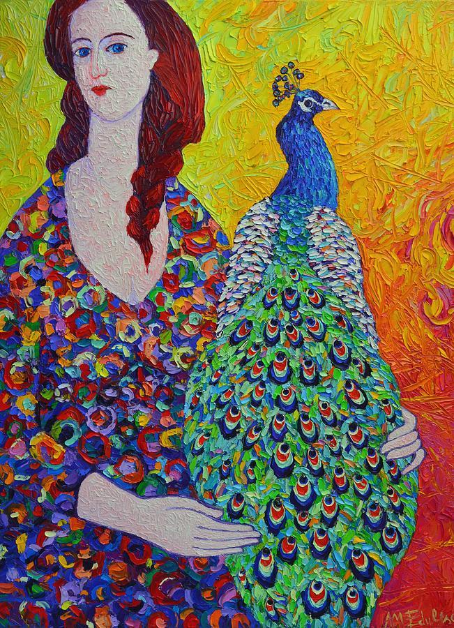 Portrait Painting - Woman With Peacock Contemporary Portrait Impressionist Palette Knife Oil Painting Ana Maria Edulescu by Ana Maria Edulescu