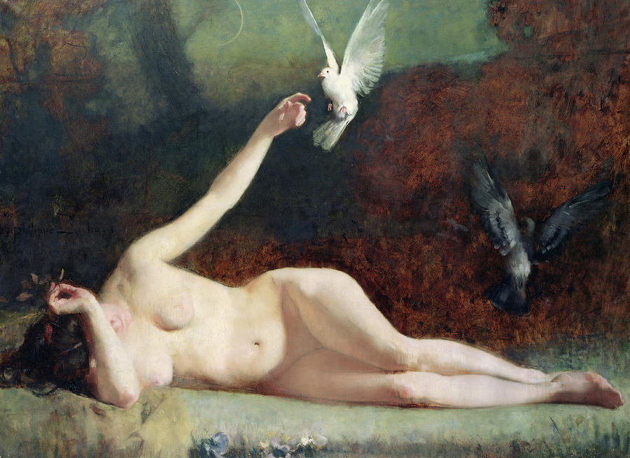 Nude Painting - Woman With Pigeons by Ernst Philippe Zacharie