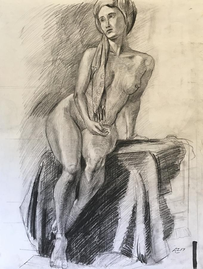 Woman With Turban Drawing by Alejandro Lopez-Tasso