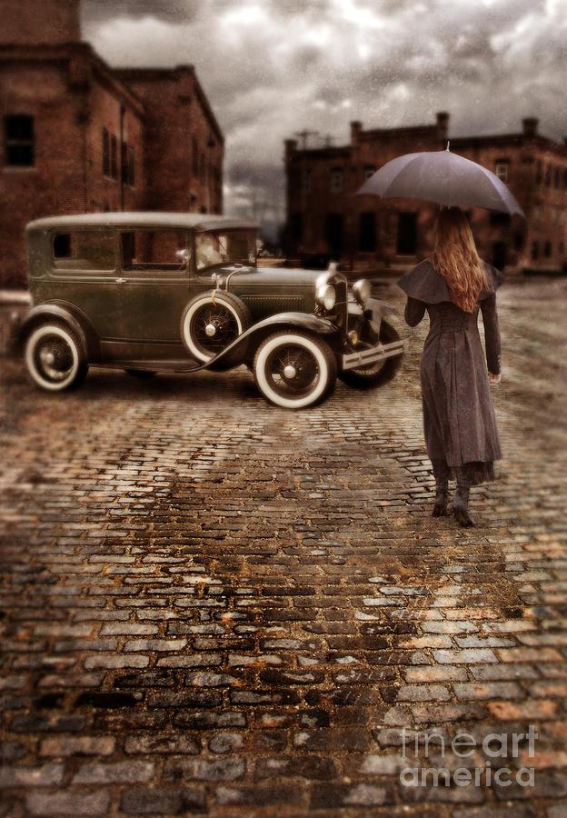 Woman Photograph - Woman With Umbrella By Vintage Car by Jill Battaglia