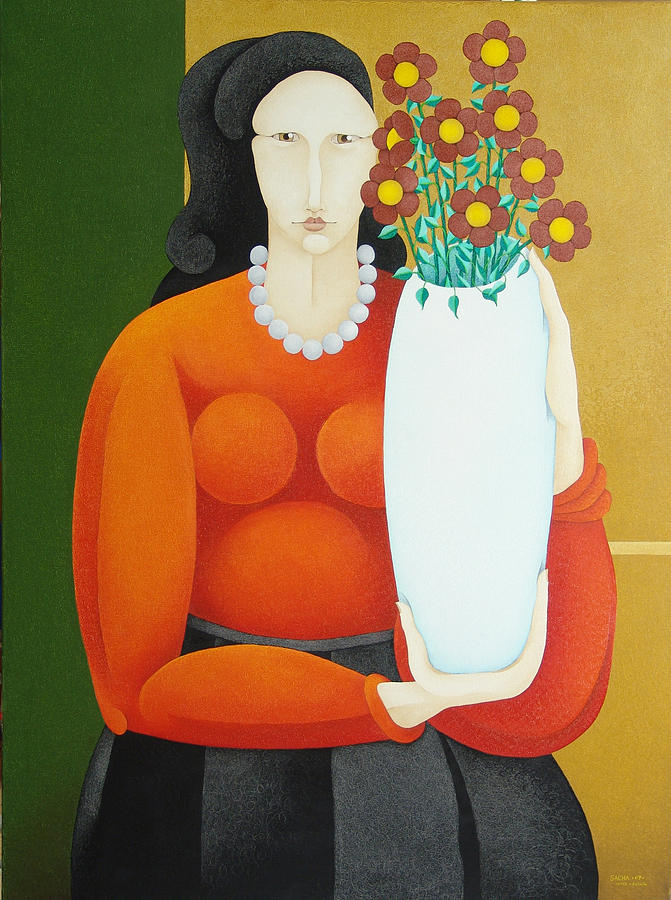 Woman with Vase  2007 Painting by S A C H A -  Circulism Technique