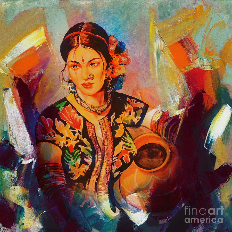 Indian Culture Paintings   Fine Art America for Abstract Painting Of Indian Dancers  53kxo