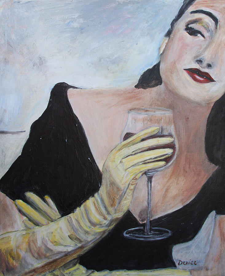 Woman Painting - Woman With Wine by Denice Palanuk Wilson