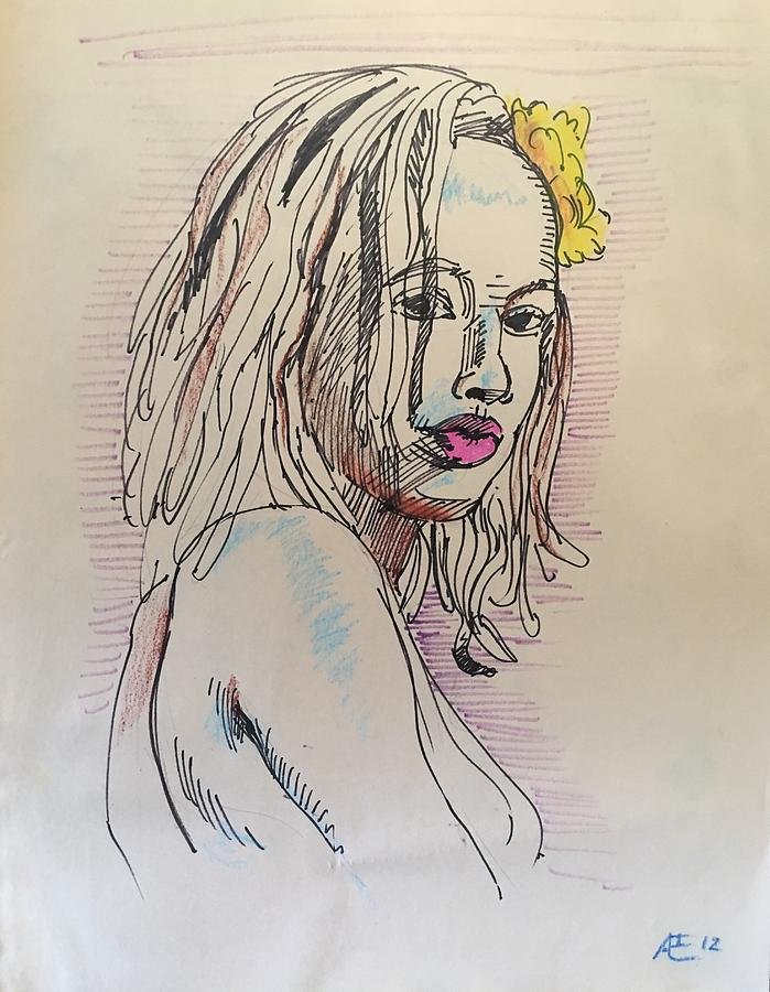 Woman With Yellow Flower Drawing by Alejandro Lopez-Tasso