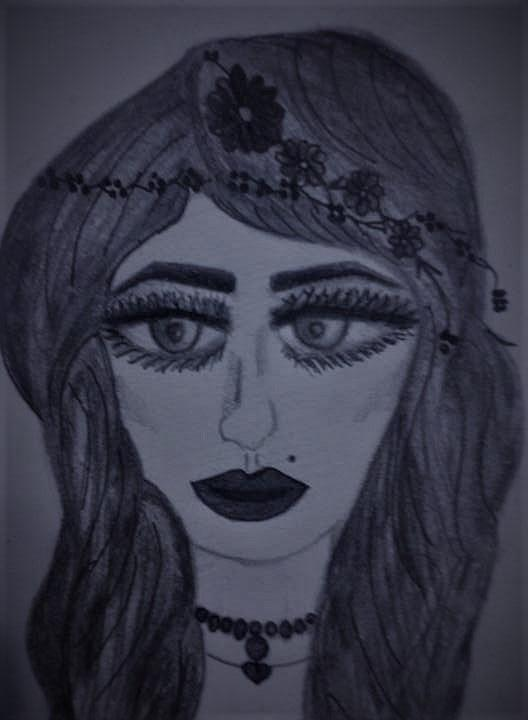 Long Hair Drawing - Womans face by Lynette Fekete