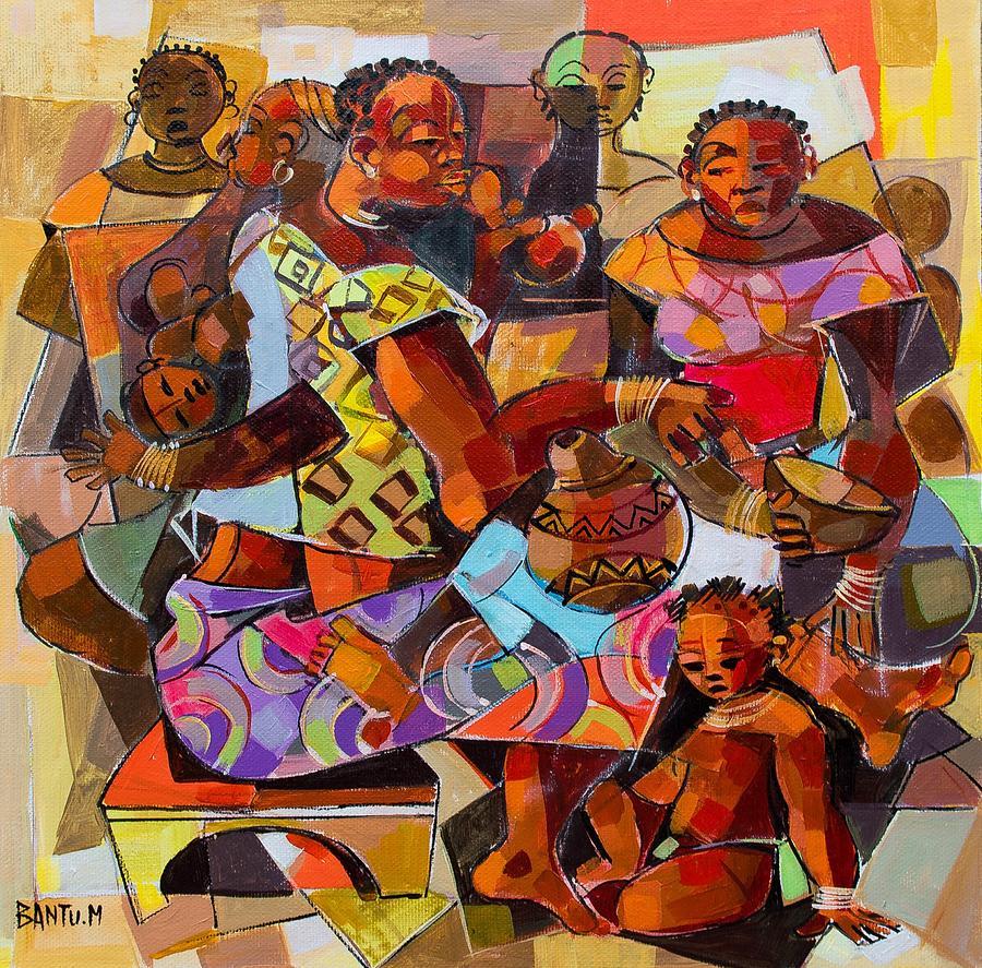 Zambia Painting - Women And Children by Bantu M