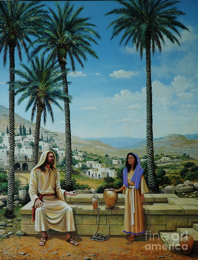 Jesus Painting - Women At The Well by Michael Nowak