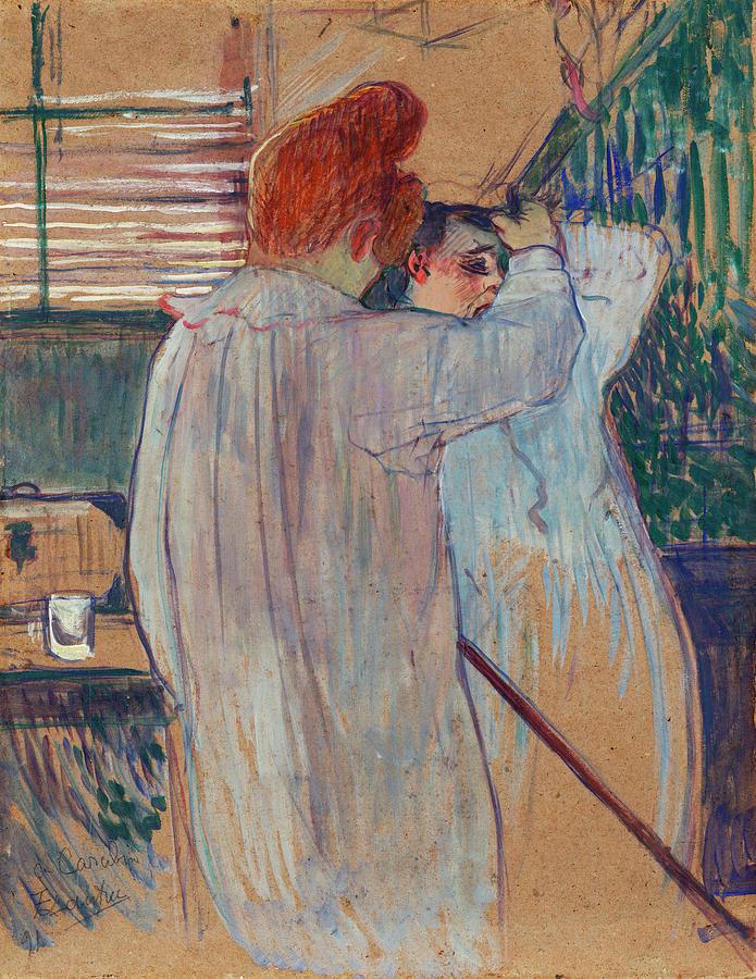 Women Combing Their Hair - Two Women Dressing Nightshirts ... c7b15ae9b