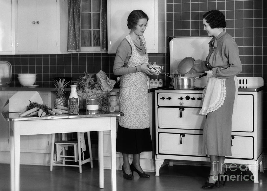 Women Cooking In Kitchen C 1930s Photograph By H