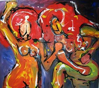 Women Dancing Painting by Marcia Pinho