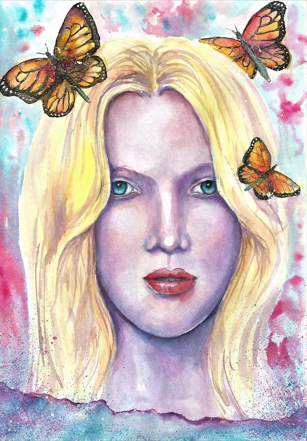 Butterflies Painting - Women Face beauty by Natalja Picugina