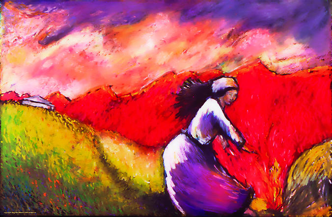 Landscape Painting - Women In A Field by Angelina Marino