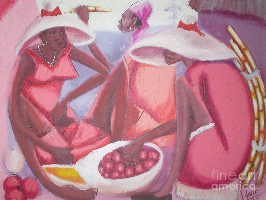Women In Outside Market Painting