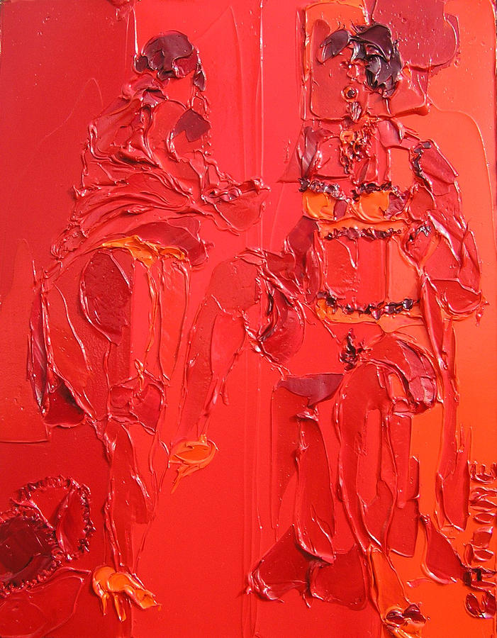 Women In Red 5 Painting by Valerie Catoire