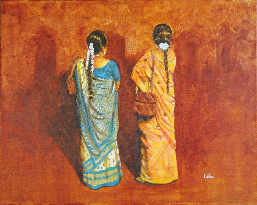 Women Painting - Women In Sarees by Usha Shantharam