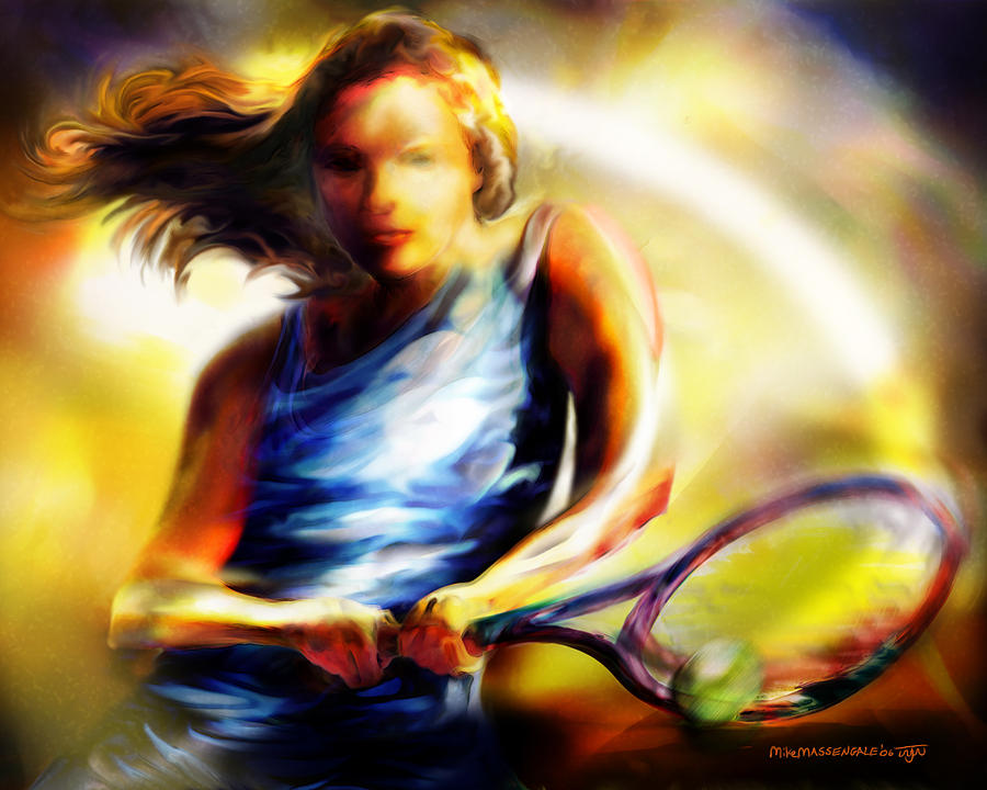 Tennis Painting - Women in Sports - Tennis by Mike Massengale