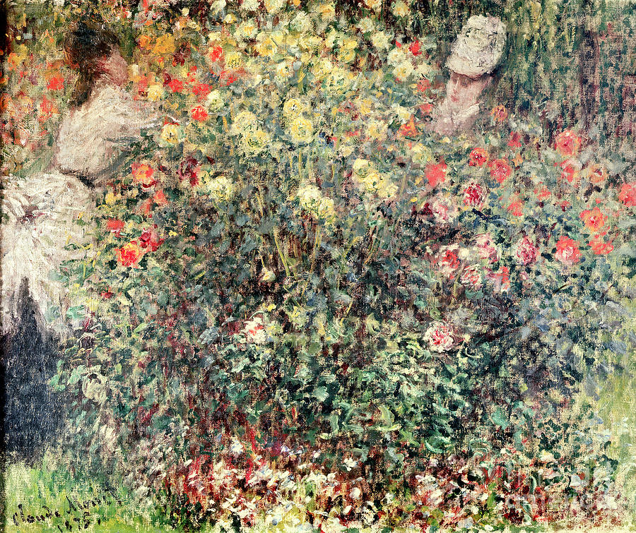 Women In The Flowers Painting - Women In The Flowers by Claude Monet