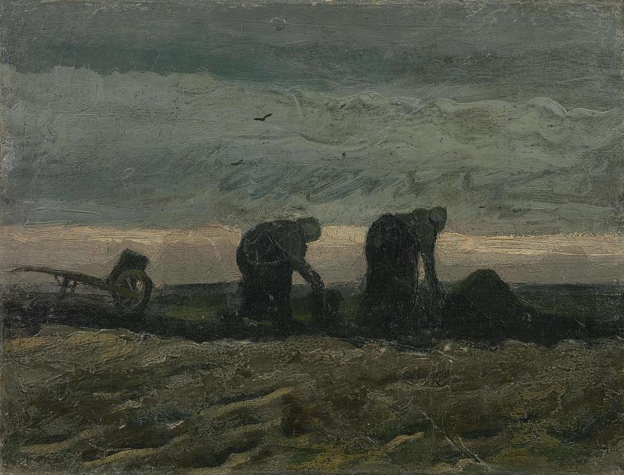 Man Painting - Women On The Peat Moor Nieuw Amsterdam, October 1883 Vincent Van Gogh 1853 - 1890 by Artistic Panda