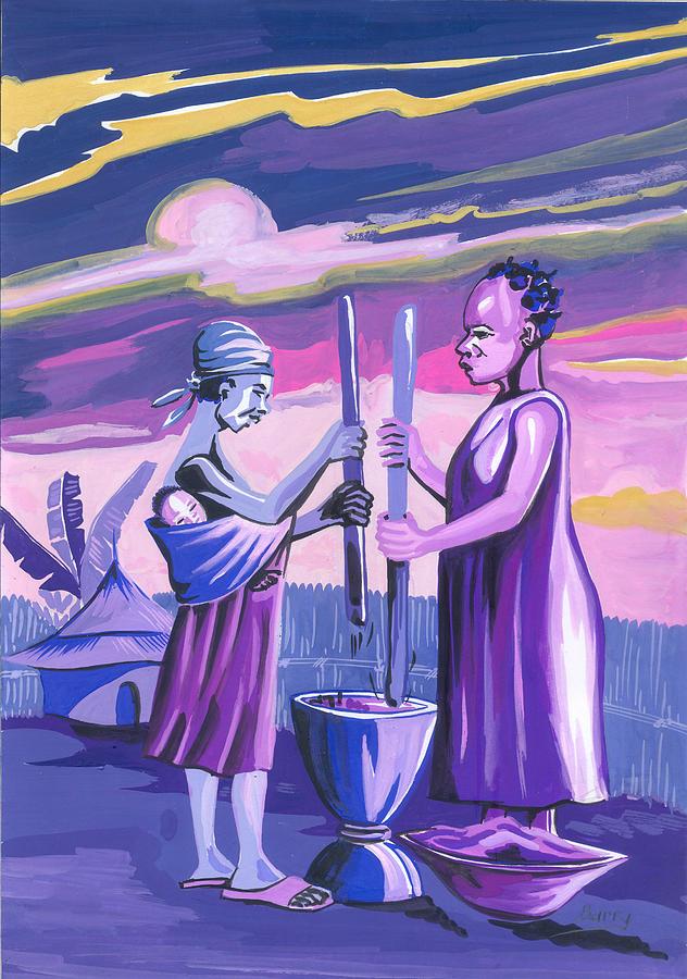 Africa Painting - Women Pounding Cassava by Emmanuel Baliyanga
