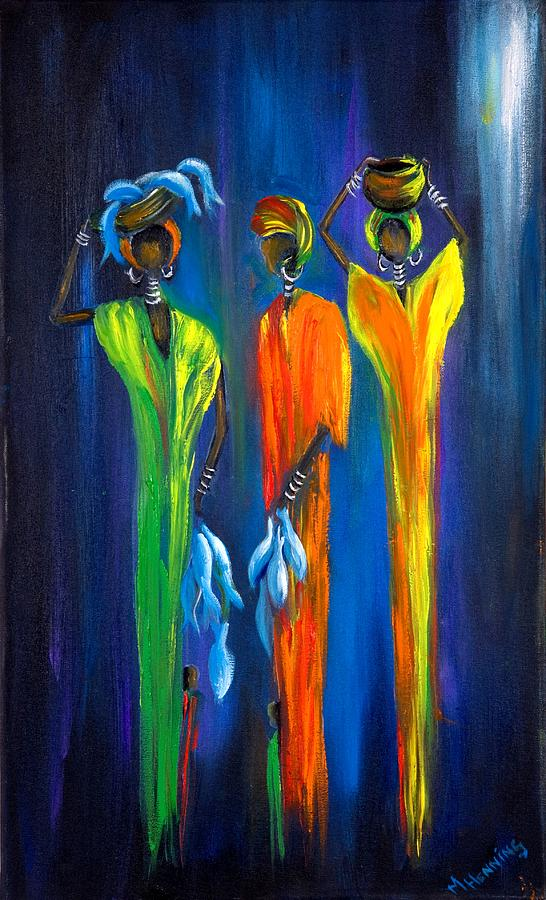 Women Selling Fish Painting By Marietjie Henning