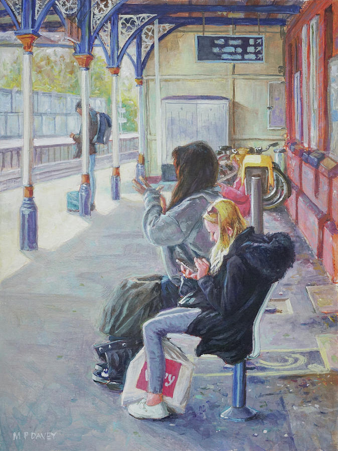 Figurative Painting - Women Texting On Christchurch Station by Martin Davey