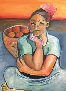 Colorful Painting - Women With Cigar by Ruth Olivar Millan