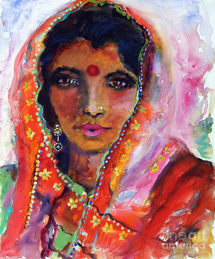 India Painting - Women With Red Bindi By Ginette by Ginette Callaway