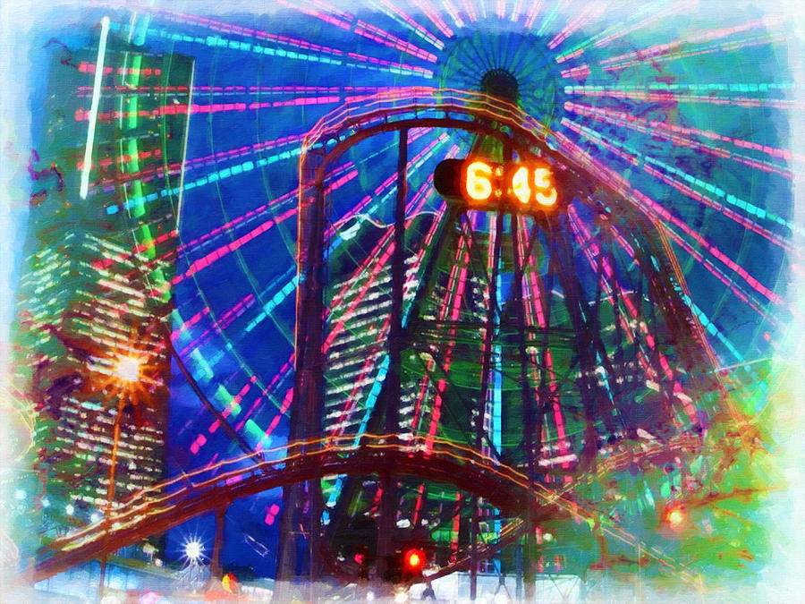 Island Painting - Wonder Wheel At The Coney Island Amusement Park by Lanjee Chee