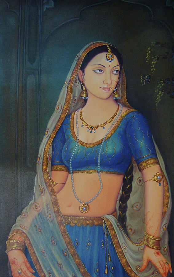 Wonderful Portrait A Lonely Queen Is Waiting For Her Husband To Return From Battle Oil Painting  Painting by A K Mundra