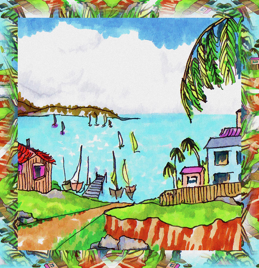 Caribbean Village Drawing - Wonderful Village by Margaret Wingstedt