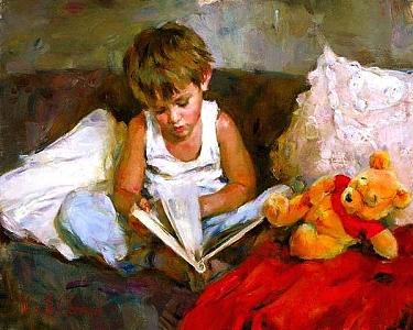 Little Boy Painting - Wonderful World by Michael Garmash