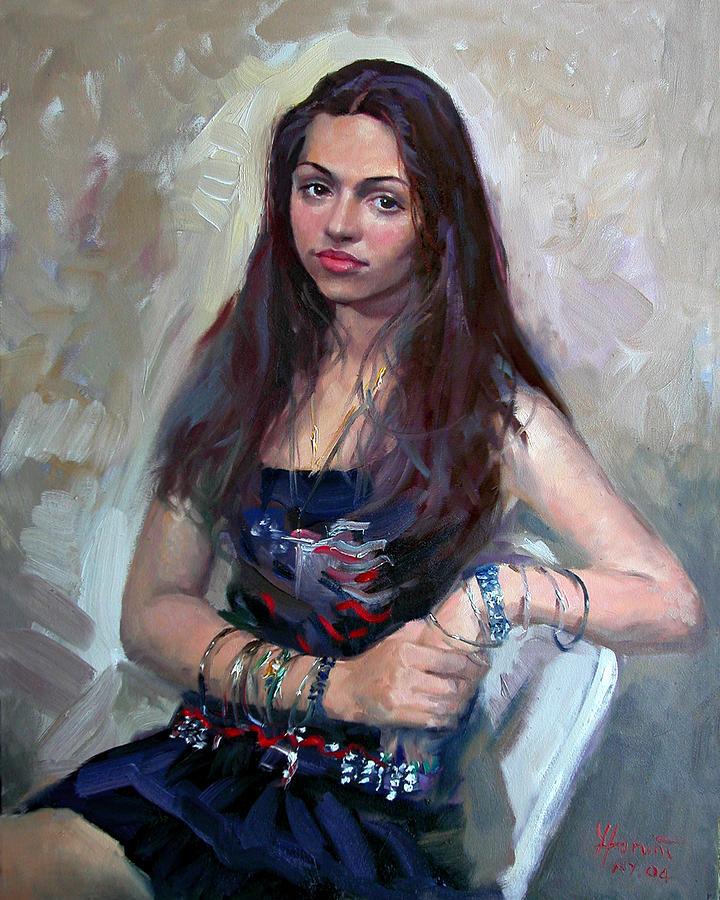 Portrait Painting - Wondering by Ylli Haruni