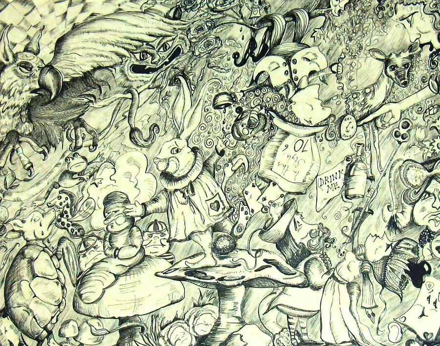 Wonderland Doodle Drawing by Marsha Hale