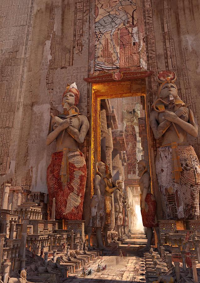 Landscape Digital Art - Wonders Door To The Luxor by Te Hu