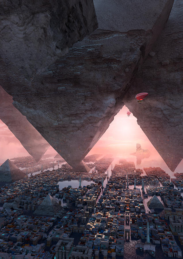 Landscape Digital Art - wonders great pyrimaid of Giza by Te Hu