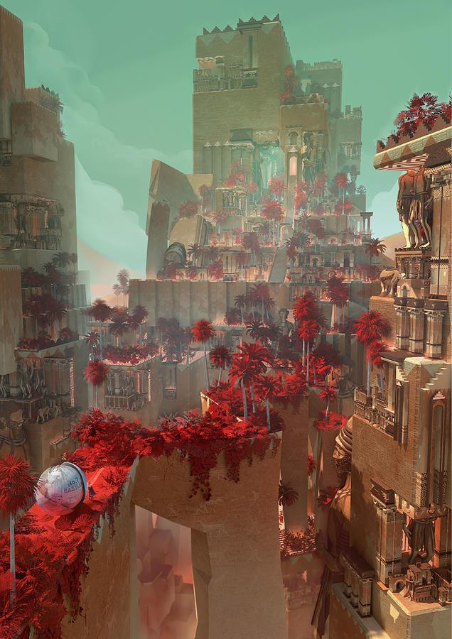 Landscape Digital Art - Wonders Hanging Garden Of Babylon by Te Hu