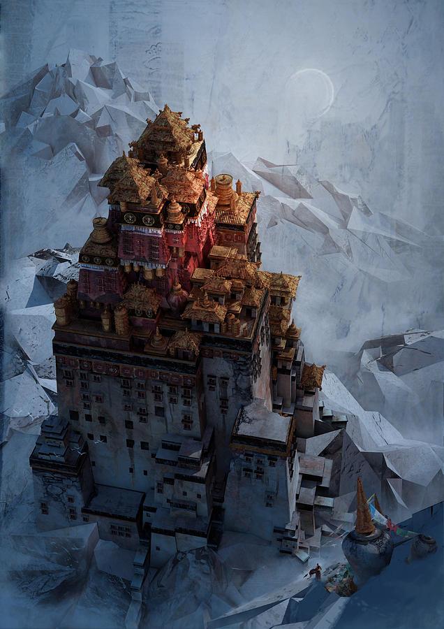 Landscape Digital Art - Wonders Holy Temple by Te Hu