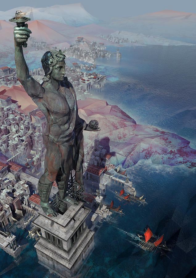 Landscape Digital Art - wonders the Colossus of Rhodes by Te Hu