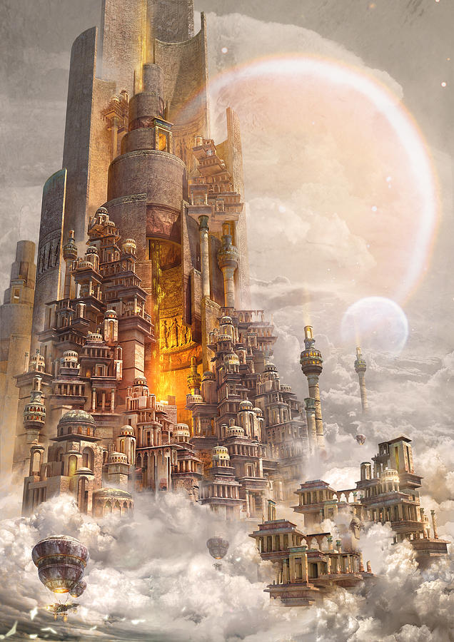 Landscape Digital Art - Wonders Tower Of Babylon by Te Hu