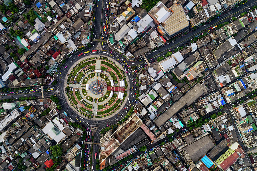 Wongwian Yai roundabout surrounded by buildings, Bangkok by Pradeep Raja PRINTS