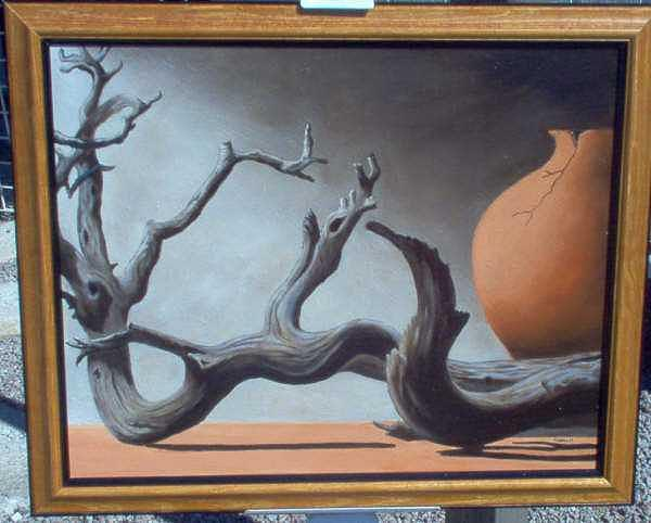 Wood And Pot Painting by Nancy Waller