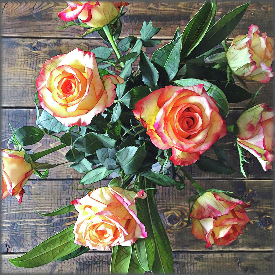 Bouquet Painting - Wood And Roses by Shadia Derbyshire