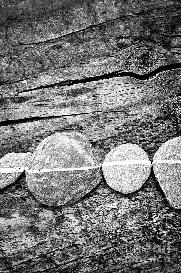 Stones Photograph - Wood And Stones - Vertical by Delphimages Photo Creations